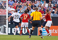 22 MAY 2010:  USA's Hope Solo #1 makes a save during the International Friendly soccer match between Germany WNT vs USA WNT at Cleveland Browns Stadium in Cleveland, Ohio. USA defeated Germany 4-0 on May 22, 2010.