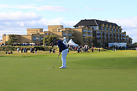 Rory McIlroy (NIR) on the 17th green during Round 3 of the Alfred Dunhill Links Championship 2019 at St. Andrews Golf CLub, Fife, Scotland. 28/09/2019.<br /> Picture Thos Caffrey / Golffile.ie<br /> <br /> All photo usage must carry mandatory copyright credit (© Golffile | Thos Caffrey)