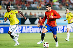 Alvaro Morata of Spain competes for the ball with Cristian Eduardo Zapata -of Colombia during the friendly match between Spain and Colombia at Nueva Condomina Stadium in Murcia, jun 07, 2017. Spain. (ALTERPHOTOS/Rodrigo Jimenez)
