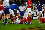 February 1st 2019, St Denis, Paris, France: 6 Nations rugby tournament, France versus Wales;  Louis Picamoles (fr) celebrates as he breaks tackles from the Welsh pack to score his try