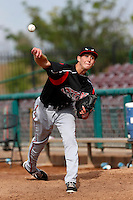 Justin Hancock #25 of the Lake Elsinore Storm pitches in the bullpen before a game against the Inland Empire 66'ers at San Manuel Stadium on June 23, 2013 in San Bernardino, California. Lake Elsinore defeated Inland Empire, 6-2. (Larry Goren/Four Seam Images)
