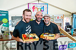 Chad Byrne, group development chef for the Gleneagle group, Massimiliano Bagaglini, Once Upon a Cheese and Chef Gorka Arrieta Sol y Sombra Tapas Bar & Restaurant, Killorglin at the cooking demonstration at Tralee Food Fair on Sunday.
