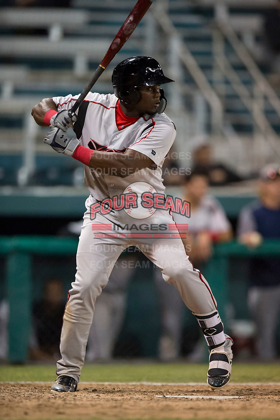 Lake Elsinore Storm right fielder Jorge Ona (13) at bat during a California League game against the Modesto Nuts at John Thurman Field on May 12, 2018 in Modesto, California. Lake Elsinore defeated Modesto 4-1. (Zachary Lucy/Four Seam Images)