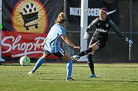 Piscataway, NJ, April 24, 2016.  Sky Blue midfielder Shawna Gordon (2) pressures the clearance by Washington Spirit goalkeeper Stephanie Labbe (1).  The Washington Spirit defeated Sky Blue FC 2-1 during a National Women's Soccer League (NWSL) match at Yurcak Field.