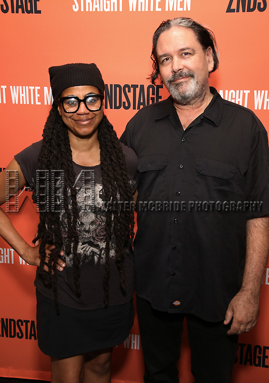 Suzan Lori-Parks & Paul Oscher attends the Opening Night Performance of 'Straight White Men' at the Hayes Theatre on July 23, 2018 in New York City.
