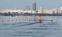 Rio de Janeiro. BRAZIL.   BEL M1X. Hannes OBRENO, at the start.2016 Olympic Rowing Regatta. Lagoa Stadium,<br /> Copacabana,  &ldquo;Olympic Summer Games&rdquo;<br /> Rodrigo de Freitas Lagoon, Lagoa. Local Time 08:47:58   Saturday  06/08/2016 <br /> <br /> [Mandatory Credit; Peter SPURRIER/Intersport Images]