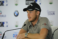Danny Willett (ENG) in media interview during previews ahead of the DP World Championship, Earth Course, Jumeirah Golf Estates, Dubai, UAE. 19/11/2019<br /> Picture: Golffile | Phil INGLIS<br /> <br /> <br /> All photo usage must carry mandatory copyright credit (© Golffile | Phil INGLIS)