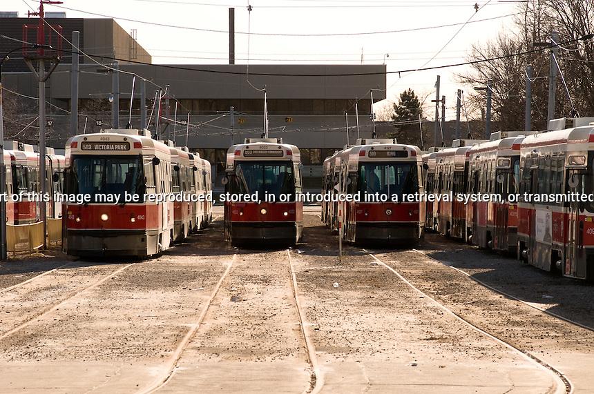 street cars in maintennce yard waiting for repair