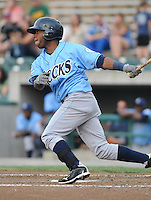 Infielder Rey Navarro (28) of the Wilmington Blue Rocks, Carolina League affiliate of the Kansas City Royals, in a game against the Lynchburg Hillcats on June 15, 2011, at City Stadium in Lynchburg, Va. (Tom Priddy/Four Seam Images)