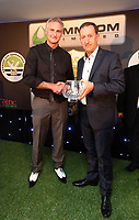 Thursday 16 May 2013<br /> Pictured L-R: Groundsman Dan Duffy presented with award by chairman Huw Jenkins.<br /> Re: Swansea City FC footballer of the year awards dinner at the Liberty Stadium.
