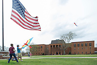 Kite flying on Drill Field.<br />  (photo by Robert Lewis / &copy; Mississippi State University)