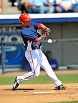 15 March 2008: Washington Nationals' catcher Wil Nieves at bat during a Spring Training game against the Los Angeles Dodgers at Space Coast Stadium, in Viera, Florida...Mandatory Photo Credit: Ed Wolfstein Photo