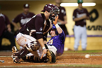LSU Tigers third baseman Tyler Hanover #11 slides home scoring in the sixth inning  during the NCAA baseball game  against the Mississippi State Bulldogson March 17, 2012 at Alex Box Stadium in Baton Rouge, Louisiana. The 10th-ranked LSU Tigers beat #21 Mississippi State, 4-3. (Andrew Woolley / Four Seam Images).