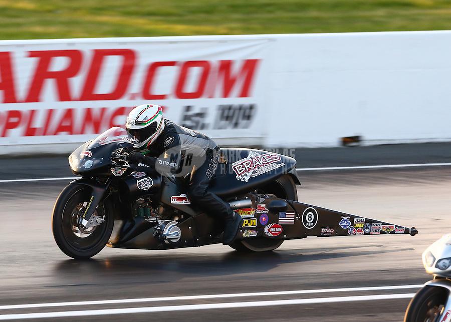 May 30, 2014; Englishtown, NJ, USA; NHRA pro stock motorcycle rider John Hall during qualifying for the Summernationals at Raceway Park. Mandatory Credit: Mark J. Rebilas-