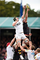 James Gaskell of Wasps competes with George Kruis of Saracens for the ball at a lineout. Aviva Premiership match, between Saracens and Wasps on October 8, 2017 at Allianz Park in London, England. Photo by: Patrick Khachfe / JMP