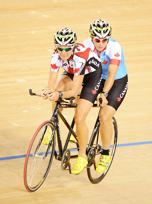 LONDON, ENGLAND – 08/24/2012:  Robbi Weldon and Pilot Lyne Bessette during a training session at the London 2012 Paralympic Games at The Velodrome. (Photo by Matthew Murnaghan/Canadian Paralympic Committee)