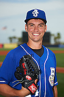 Biloxi Shuckers pitcher Brent Suter (24) poses for a photo before the first game of a double header against the Pensacola Blue Wahoos on April 26, 2015 at Pensacola Bayfront Stadium in Pensacola, Florida.  Biloxi defeated Pensacola 2-1.  (Mike Janes/Four Seam Images)