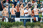 Texas Longhorn fans watch the action during the game between the Texas Longhorns and the Baylor Bears at the McLane Stadium in Waco, Texas.