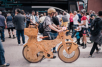 wooden bike at the start<br /> <br /> stage 15: Tolmezzo &ndash; Sappada (176 km)<br /> 101th Giro d'Italia 2018