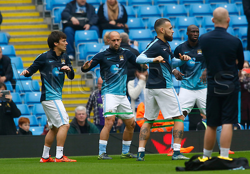 03.10.2015. Manchester, England. Barclays Premier League. Manchester City versus Newcastle United. City players warming up before the game.