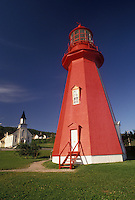 lighthouse, Gaspe Peninsula, Quebec, La Martre, Canada, Gulf of St. Lawrence, Red octagonal lighthouse museum in La Martre on the Gaspe Peninsula on the St. Lawrence River in Quebec.
