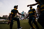 Players of South Africa celebrate winning Hong Kong Cricket World Sixes 2017 Cup final match between Pakistan vs South Africa at Kowloon Cricket Club on 29 October 2017, in Hong Kong, China. Photo by Yu Chun Christopher Wong / Power Sport Images