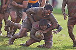 David Luteru gets ridden to ground by Haani Hala'eua. Counties Manukau Premier Club Rugby game between Patumahoe & Karaka played at Patumahoe on Saturday June 13th 2009. Patumahoe lead 8 - 0 at halftime and went on to win 20 - 0.