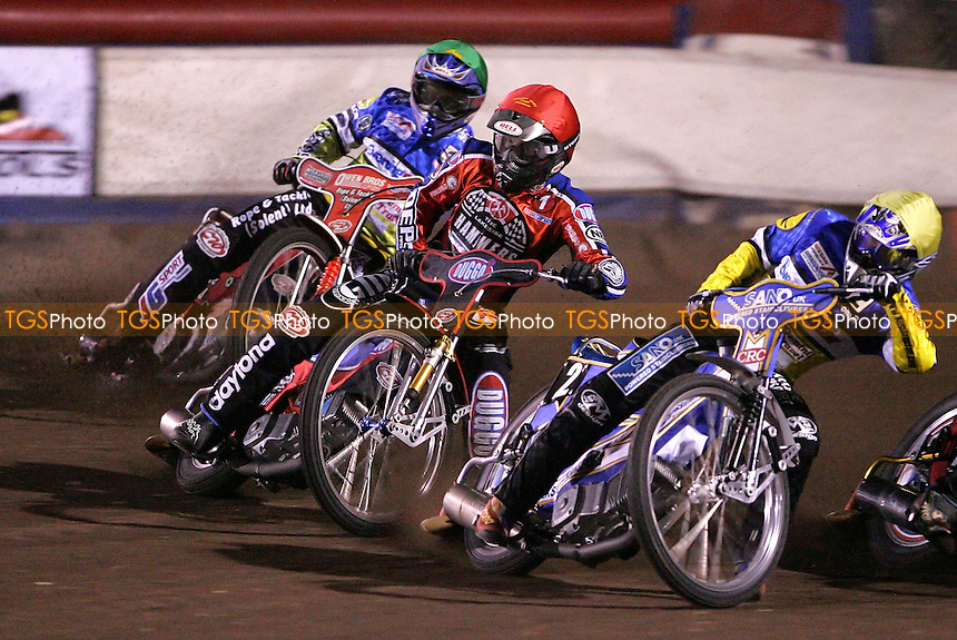 Joonas Kylmakorpi of Lakeside is sandwiched between Ipswich pair Mark Loram and Kim Jansson in Heat 1 - Lakeside Hammers vs Ipswich Witches at The Arena Essex Raceway, Thurrock - 16/03/07 - MANDATORY CREDIT: Rob Newell/TGSPHOTO