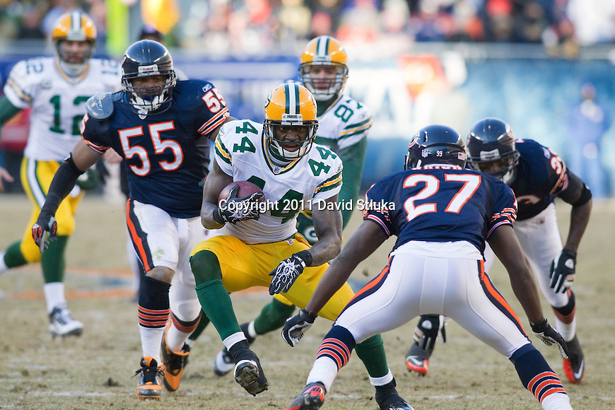 Green Bay Packers running back James Starks (44) carries the ball during the NFC Championship NFL football game at Soldier Field in Chicago on January 23, 2011. The Packers won 21-14. (AP Photo/David Stluka)