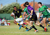 Action from the men's final between Wellington and Manawatu. 2017 Bayleys Central Regional Sevens at Playford Park in Levin, New Zealand on Saturday, 9 December 2017. Photo: Dave Lintott / lintottphoto.co.nz