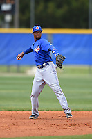 Toronto Blue Jays Richard Urena (8) during a minor league spring training game against the New York Yankees on March 24, 2015 at the Englebert Complex in Dunedin, Florida.  (Mike Janes/Four Seam Images)