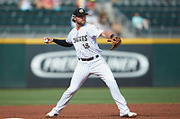 Charlotte Knights third baseman Trey Michalczewski (18) makes a throw to first base against the Gwinnett Braves at BB&T BallPark on July 14, 2019 in Charlotte, North Carolina.  The Stripers defeated the Knights 5-4. (Brian Westerholt/Four Seam Images)
