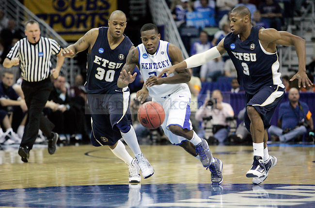 Freshman guard Eric Bledsoe chases down the ball during the second half of UK's first round 100-71 win over East Tennessee State in the NCAA tournament at New Orleans Arena on Thursday, March 18, 2010. Photo by Britney McIntosh | Staff