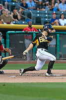 Forrestt Allday (5) of the Salt Lake Bees follows through on his swing against the Albuquerque Isotopes during the Pacific Coast League game at Smith's Ballpark on August 30, 2016 in Salt Lake City, Utah. The Bees defeated the Isotopes 3-2. (Stephen Smith/Four Seam Images)