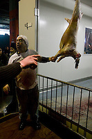 A butcher calls out the name of the buyer of a freshly slaughtered sheep during the ritual sheep slaughter held for the Muslim celebration of Aid-el-Kebir at a temporary slaughterhouse set up in an hanger in Pantin, outside Paris, France, 1 February 2004. Photo Credit: David Brabyn.