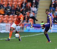 Blackpool's Liam Feeney and Portsmouth's Brandon Haunstrup<br /> <br /> Photographer Stephen White/CameraSport<br /> <br /> The EFL Sky Bet League One - Blackpool v Portsmouth - Saturday 31st August 2019 - Bloomfield Road - Blackpool<br /> <br /> World Copyright © 2019 CameraSport. All rights reserved. 43 Linden Ave. Countesthorpe. Leicester. England. LE8 5PG - Tel: +44 (0) 116 277 4147 - admin@camerasport.com - www.camerasport.com