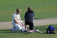 Injury concern for Ben Duckett of Notts during Essex CCC vs Nottinghamshire CCC, Specsavers County Championship Division 1 Cricket at The Cloudfm County Ground on 15th May 2019