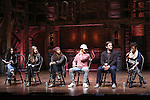 Stephanie Klemons, Eliza Ohman, Sasha Hollinger, Jordan Fisher, Rory O'Malley and Syndee Winters from 'Hamilton' greet High School students from The Rockefeller Foundation, and The Gilder Lehrman Institute of American History before a 'Hamilton' matinee performance at the Richard Rodgers Theatre on 11/30/2016 in New York City.