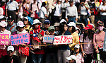 Yani Tseng' supporters hold banners on the 8th hole during the Day 4 of the LPGA Sunrise Taiwan Championship on at Sunrise Golf Course on October 23, 2011 in Taoyuan, Taiwan. Photo by Victor Fraile / The Power of Sport Images