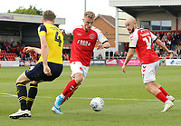 Fleetwood Town's Kyle Dempsey looks to run past Oxford United's Rob Dickie<br /> <br /> Photographer Rich Linley/CameraSport<br /> <br /> The EFL Sky Bet League One - Fleetwood Town v Oxford United - Saturday 7th September 2019 - Highbury Stadium - Fleetwood<br /> <br /> World Copyright © 2019 CameraSport. All rights reserved. 43 Linden Ave. Countesthorpe. Leicester. England. LE8 5PG - Tel: +44 (0) 116 277 4147 - admin@camerasport.com - www.camerasport.com