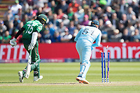 Jonny Bairstow (England) removes the bails  but Shakib Al Hasan (Bangladesh) is comfortably home during England vs Bangladesh, ICC World Cup Cricket at Sophia Gardens Cardiff on 8th June 2019