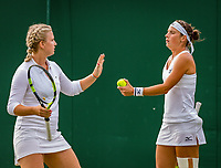 London, England, 4 th. July, 2018, Tennis,  Wimbledon, Woman's doubles: Ysaline Bonaventure (BEL) and Bibiane Schoofs (NED) (R)<br /> Photo: Henk Koster/tennisimages.com