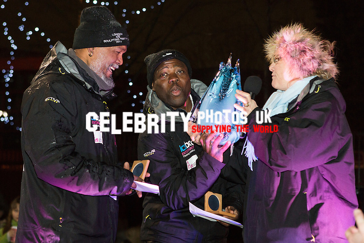 Team Africa receive the overall winners trophy at the awards ceremony at the London Ice Sculpting Festival 2014. Photo by Vickie Flores.