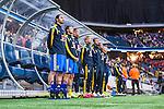 Solna 2014-06-01 Fotboll Landskamp , Sverige - Belgien :  <br /> Sveriges Zlatan Ibrahimovic vid avbytarb&auml;nken under nationals&aring;ngen<br /> (Photo: Kenta J&ouml;nsson) Keywords:  Sweden Sverige Friends Arena Belgium Belgien portr&auml;tt portrait