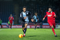 Paris Cowan-Hall of Wycombe Wanderers & Frazer Shaw of Leyton Orient chase down the ball during the Sky Bet League 2 match between Wycombe Wanderers and Leyton Orient at Adams Park, High Wycombe, England on 23 January 2016. Photo by Andy Rowland / PRiME Media Images.