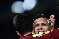 Calcio, Serie A: Roma, stadio Olimpico, 19 febbraio 2017.<br /> Roma&rsquo;s Leandro Paredes (r) celebrates with his teammate Diego Perotti (l) after scoring during the Italian Serie A football match between As Roma and Torino at Rome's Olympic stadium, on February 19, 2017.<br /> UPDATE IMAGES PRESS/Isabella Bonotto