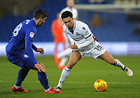 Bolton Wanderers' Antonee Robinson vies for possession with Cardiff City's Callum Paterson<br /> <br /> Photographer Kevin Barnes/CameraSport<br /> <br /> The EFL Sky Bet Championship - Cardiff City v Bolton Wanderers - Tuesday 13th February 2018 - Cardiff City Stadium - Cardiff<br /> <br /> World Copyright &copy; 2018 CameraSport. All rights reserved. 43 Linden Ave. Countesthorpe. Leicester. England. LE8 5PG - Tel: +44 (0) 116 277 4147 - admin@camerasport.com - www.camerasport.com
