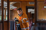 Pictured: Cathy Naylor polishes the inside of a steamtrain carriage at Alresford Station ahead of the reopening of the Mid Hants Railway to the general public this Saturday, 11th July.<br /> <br /> © Jordan Pettitt/Solent News & Photo Agency<br /> UK +44 (0) 2380 458800