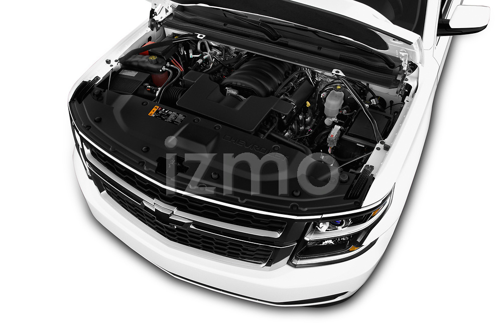 Car Stock 2018 Chevrolet Suburban LS 5 Door SUV Engine  high angle detail view