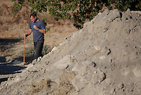 Pictured: A forensic archaeologist works at the second site in Kos, Greece. Saturday 15 October 2016<br /> Re: Police teams led by South Yorkshire Police are searching for missing toddler Ben Needham on the Greek island of Kos.<br /> Ben, from Sheffield, was 21 months old when he disappeared on 24 July 1991 during a family holiday.<br /> Digging has begun at a new site after a fresh line of inquiry suggested he could have been crushed by a digger.